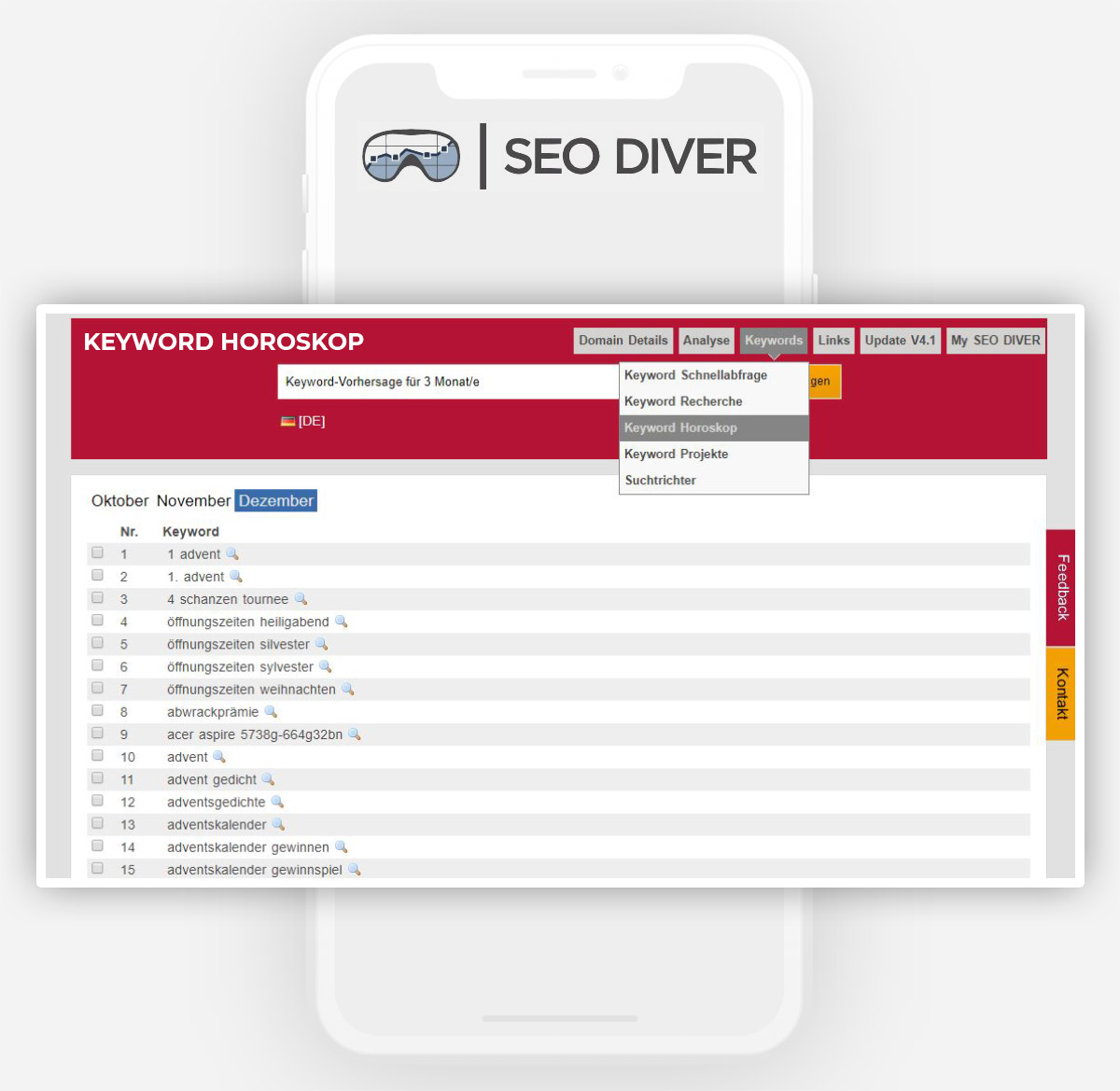 SEO Strategie: SEO Diver Keyword Horoskop