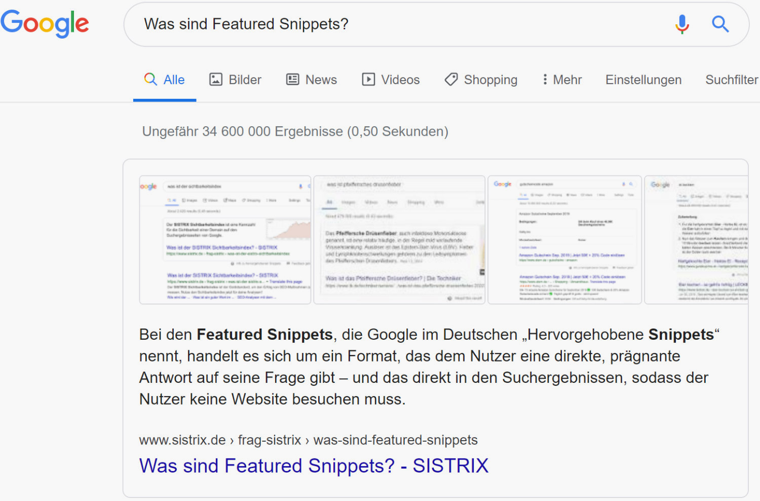 Strukturierte Daten: Featured Snipped